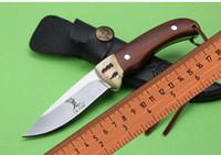 Wholesale Buck Elk Knife - 2016 NEW ElkRidge Stag Buck Deer Elk Ridge Fixed Knife Satin blade Wood Handle Small Straight camping Hunting Tactical Outdoor Fruit knives