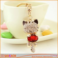 Wholesale Girls Hangbag - Crystal Rhinestone Metal Cat Keychain Novelty Souvenir Gifts Couple Key Chain Key Ring Hangbag Charms Pendant Chaveiros Carro