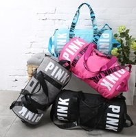 Barato Vs Sacolas Rosa-Pink Shoulder Bags Pink Letter Fitness Gym Handbags Travel Duffle Bags VS Designer Beach Bag Totes de moda 4 cores KKA2893