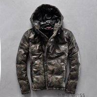 Wholesale Hoody Leather Jackets - camouflage genuine leather down jackets brand Oblique zipper outdoor down coats with hoody