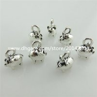 Wholesale Cute Piggies - 20116 30X Vintage Silver Alloy Animal Cute Pig Piggy Pendant Kids Party Findings