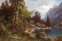Wholesale oil painting animal scenery for sale - Group buy wild animal deer by lake mountains landscape Perfect Pure Hand painted Scenery Art oil painting Canvas in any size customized