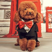 Wholesale Tuxedos Suits Wholesale - Dog Clothes Easy Matching Suits Pets Costume Small Dog Tuxedo With Red Boeknot Pet Wedding Clothes Gentleman Suit Pet Accessories