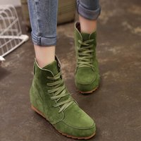 Wholesale White Fashion Heels Korean - Vogue Autumn Winter New Korean Style Womens Female Lady Fashion Casual Retro Mujer Warmth Ankle Boots Flat Lace Up Martin Bottine Shoes C043