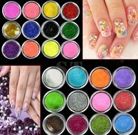 Wholesale Nail Art Glitter 24 - 200 set Lot 24 Colors Metal Shiny Nail Art Tool Kit Acrylic UV Glitter Powder Dust Stamp