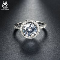 Wholesale Micro Pave Diamond Engagement Ring - New Arrival Luxury 1.4ct Simulated Diamond Wedding Band Engagement Rings for Women Micro Paved 36 Pieces Austrian Zircon OR105