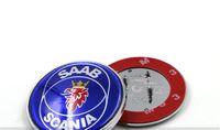 Wholesale Bonnet Badge - High Quality NEW 68mm SAAB SCANIA 9-5 95 (98-02) Bonnet ABS 3pins Emblem Badge Blue Logo Brand New part 4911541