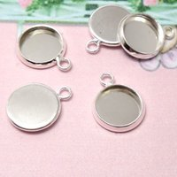 Wholesale 18mm Round Pendant Trays - Wholesale-30pcs Inner 20mm 10mm 14mm 16mm 18mm 25mm Round Pendant Blank - Silver Tone Charm Setting DiY Bezel Pendant Tray Base 4 Necklace