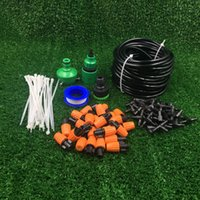 Wholesale Misting Systems - 4 7 Hose Outdoor Garden Patio Misting Cooling System Orange Micro Adjustable Mist Nozzle Sprinklers watering kit automatic Irrigation System