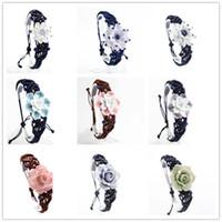 porzellan perlen blumen großhandel-New Kiln Porzellan Lotus Blume Perlen Armband Original Design Keramik Perlen Armband Jingdezhen Spezialität Weben Armbänder Großhandel B0665