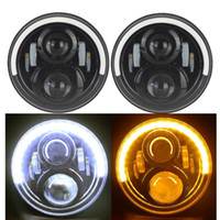 "Wholesale Led Eye Amber - 7"" LED Headlight for Wrangler JK Headlamp with Halo Angel Eye & White DRL & Amber Turn Signal Lights"