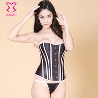 Wholesale Overbust Tight Lace - Wholesale-Black Satin Pink Bone Rim Overbust Waist Training Corselet-Corset Sexy Korset Gothic Corsets And Bustiers Tight Lacing Bustier