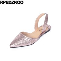 Glitter Sandals Ladies Beautiful Flats Shoes Mulheres Pink Pointed Toe Slip On Large Size Sparkling Wedding 2017 Slingback Europeu