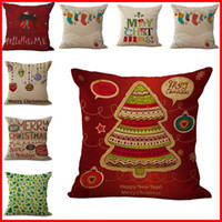 Wholesale Yarn Santa - 73 type Merry Christmas Pillow Cases Cushion Cover Christmas tree Reindeer Santa candy ball Pillow Case Square Xmas pillow covers DHL 240375