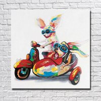 Wholesale funny pictures cartoon - Chinese Oil Painting Funny Animal Pictures Modern Canvas Wall Art Home Decor Living Room Wall Pictures 1 Peices No framed