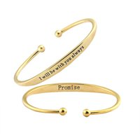 Wholesale I Promise - Wholesale 10Pcs lot 2017 New Fashion Stainless Steel Bangle Snaps Jewelry Promise I will be with you always Charm Bracelets
