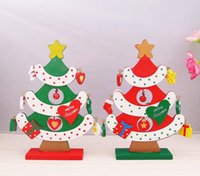 Wholesale Handcrafted Decor - Wooden Christmas Tree Decorations Accessories DIY Handcrafted Ornament Decor Christmas Party Supplies Lovely Decorations