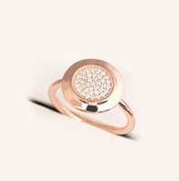 Wholesale round wedding rings online - rose gold Signature Compatible with pandora Jewelry Silver Ring with logo Authentic Sterling Silver round disc Ring with cz paved