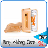 Ring Clear Airbag Ultrathin Soft TPU Stand caso para el iPhone 5S 6 6S PLus S7 borde Anti-shock a prueba de golpes de la cubierta Transparente Air Float piel