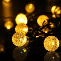 Barato Luzes De Jardim Com Globo Solar-Alta qualidade Solar Powered Led Outdoor String Lights 6M 30LEDs Crystal Ball Globe Fairy Strip Lights para Outside Garden Party Christmas