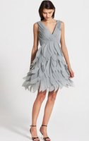 Wholesale Wings Charm Cheap - Glamorous 2016 V Neck Charming Cheap Bridesmaid Dresses Long Sleeveless Wing Feather Backless A-Line Wedding Guest Dresses Ruffles