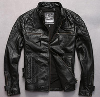 Wholesale Mens Real Leather Motorcycle Jacket - Fall-Factory 2016 Harley clothing leather skull print collar Short Jacket Mens Leather Motorcycle jacket real cow leather short coat