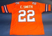 Cheap retrò # 22 EMMITT SMITH CUSTOM FLORIDA GATORS Orange JERSEY Mens cuciture Throwback Taglia S-5XL maglie da calcio