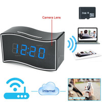 Wholesale spy clock motion activated - 32GB memory built-in 1920x1080P Wifi Network Mini Spy Hidden Camera Clock Indoor Motion Activated Video Recorder DV Camcorder PQ282