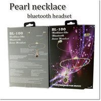 Wholesale headset decorations - high quality Pearl necklace headsets wireless bluetooth stereo earphone nacklace Decoration fro women and girl for samsung iphone 7 7 plus