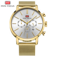 Wholesale new focus auto - MINI FOCUS Chronograph Steel Strap Gold Watch Men Quartz Sports Watches Brand Luxury Clock Military Male Watch Relogio Masculino