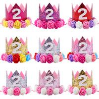 rosa quente rosa flor artificial venda por atacado-Hot New Baby 2 º Aniversário Sparkly Party Crown Artificial Rosa e Cremoso Rose Flores Tiara Headband HJ149