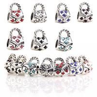 avrupa cazibesi çantası toptan satış-925 Ayar Gümüş Charm Çanta Emniyet Zinciri Avrupa Yüzer Pandora Yılan Zincir Bilezik Için Takılar Gümüş Boncuk DIY Takı
