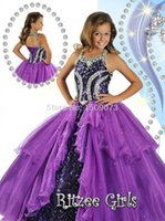 robe violet achat en gros de-2016 Vente Chaude Haute Rated Purple Princesse Pageant Robes Halter Neck Corset Retour Perles Sequin Ball Robe Glitz Fille Robes HY1141