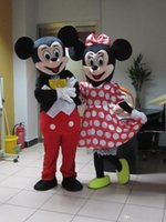 Wholesale Wholesale Plus Size Mascot Costumes - 2Pcs Couple Mickey & Minne Mouse Cartoon Mascot Costume school mascots character Men's costumes Costume Play