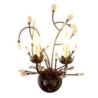 lâmpada de cabeça de cristal venda por atacado-Sretro lâmpada de parede de cristal do metal do vintage lâmpada de parede 2 cabeça de iluminação para casa de cristal luzes de parede corredor e14 led light fixttures