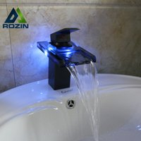Wholesale Changing Basin Taps - Wholesale- LED Light Glass Waterfall Spout Basin Sink Faucet Single Lever 3 color Changing Hot and Cold Water Vanity Mixer Taps