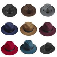 Wholesale Brown Hard Hats - Wholesale-Vintage Men Women Hard Wool Felt Hat Wide Brim Fedora Trilby Panama Hat Gangster Cap