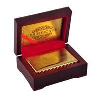 cadeau en or 24 carats achat en gros de-24K Gold Foil Plated Poker Carte De Jeu De Carte De Jeu De Haute Qualité Sport Loisirs Jeu Cadeau Boîte Avec Certificat Carte 2507005