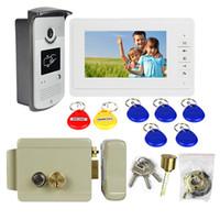 "Wholesale Door Entry Intercom System - 7"" TFT Wired Video Door Phone Intercom Entry System Camera + Electric Lock F1667Z"