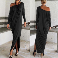 Wholesale Ladies Bohemian Long Dress - 2016 Spring Autumn Summer Women Maxi Dresses Long Sleeves Irregular Plus Size Oversize Loose Bohemian Wrap Ladies Dresses OXL15092107