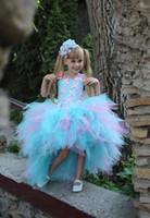 kızlar için lila elbiseleri toptan satış-Pembe Mavi 11 Yaşındaki Kız Elbise Leylak Parti Tutu Elbise Ucuz Çiçek Kız Elbise