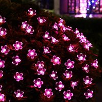 ingrosso albero fiorito da giardino leggero-Flower Solar Powered Christmas Lights 20 LED 5m Decorative Blossom Fairy String Light per Garden Lawn Patio Xmas Tree Holiday