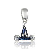 mickey bilezikler toptan satış-Otantik 925 Gümüş Mickey Büyücünün Şapka Pırıltılı Emaye Ile Inanç İnanç Sihirli Charm Boncuk Pandora Bilezikler DIY Takı Uyar