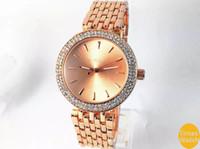 Wholesale Silicone Diamond Watches - M brand famous luxury Women Men Gold diamond wrist Relojes stainless steel rolse gold fashion watch Free shipping gold men wristwatches