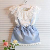 Wholesale Denim Suits Girls - Girl Lace bowknot braces denims dress suits Summer Chiffon Lace cotton Sleeveless T-shirt Short skirt dress suit baby clothes K152