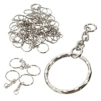 Wholesale Key Ring Chain Link - 50Pcs 55mm Keyring Blanks Silver Tone Keychain Key Fob Split Rings 4 Link Chain