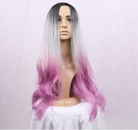 Wholesale Kanekalon Cheap Wigs - cheap good quality synthetic ombre Black grey pink cosplay color wigs 30'' kanekalon Long Curly wig with bangs for sale