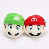 Wholesale mario keychain plush online - 2pcs set Super Mario Bros Anime cm Keychain Luigi Mario Plush Toy Soft Stuffed Doll Pendant With Ring