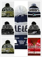 Wholesale Penguin Knitting - NHL Ice Hockey Caps Winter Beanie Hats for Men Knitted Wool Hat Gorro Bonnet with Pittsburgh Penguins Chicago Toronto Blue Jays Warm Cap