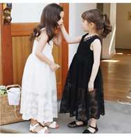 Wholesale floral cotton frock online - New Design Girl Lace Dress Party Occasion Little Girl Wear Embroidered Flower Dresses Sleeveless Cotton Girls Frock Dresses Children Clothes